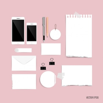 Paper pieces stationery design