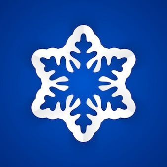 Paper Snowflake on blue background