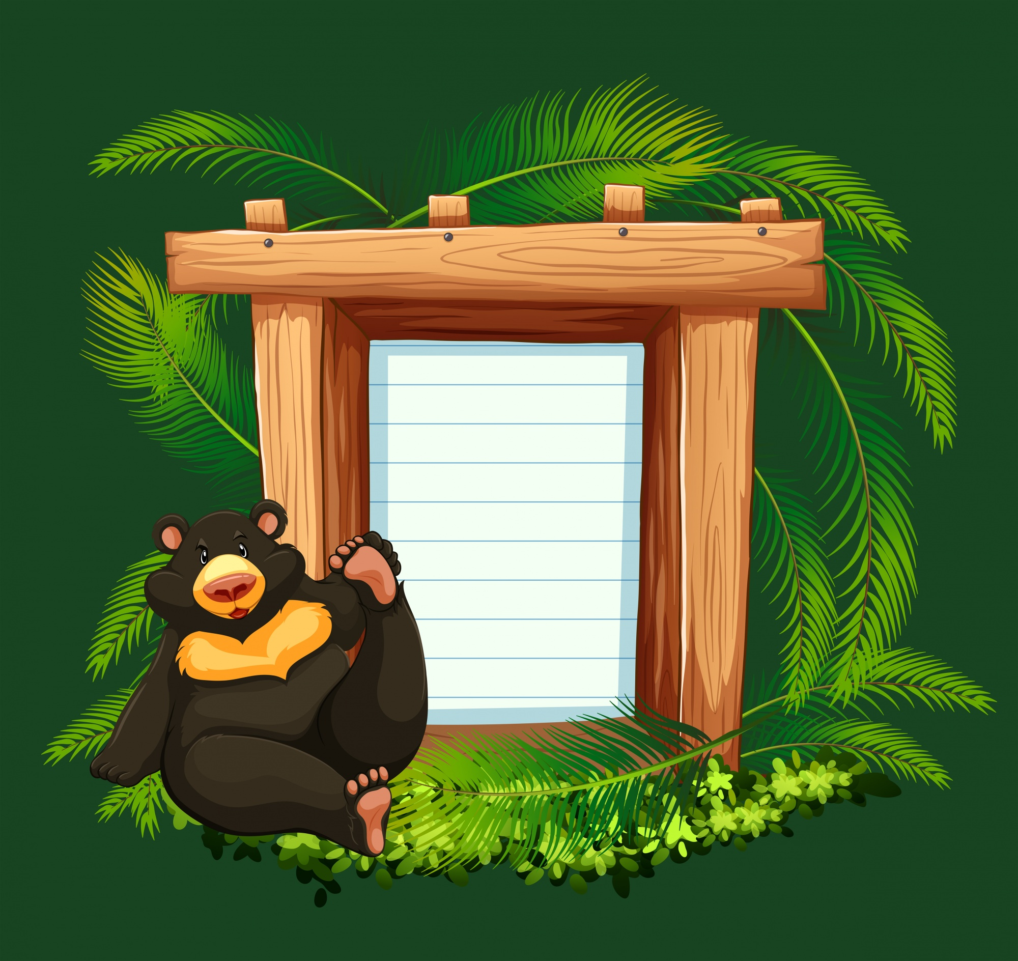 Paper template with bear in forest background