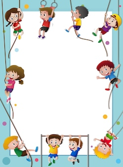 Paper template with kids climbing rope