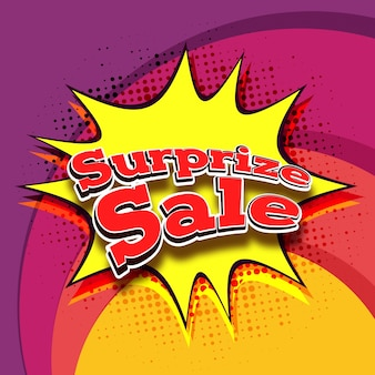 Paper Text Surprize Sale on pop art background.