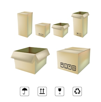 Parcel boxes and icons collectio
