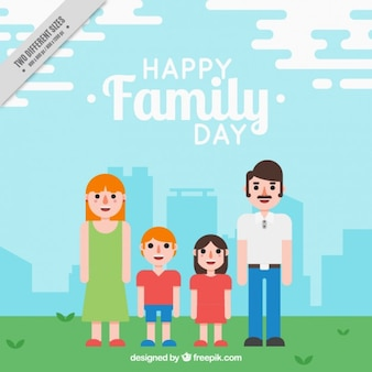 Parents with their children in the city background in flat design