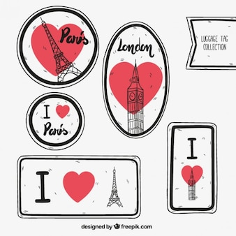 Paris and london luggage tags
