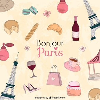 Paris city cartoon elements