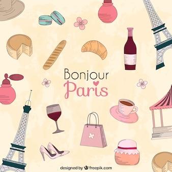 paris city cartoon elements
