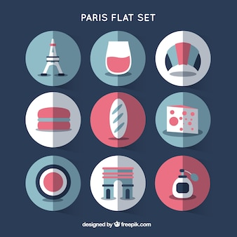 Paris elements set in flat design