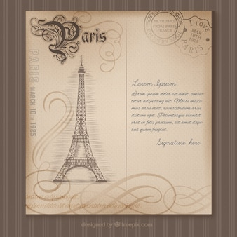 Paris postcard in retro style