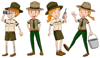 Park rangers in brown uniform illustration