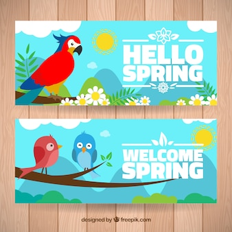 Parrot and lovely birds spring banners
