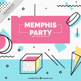 Party background in memphis style