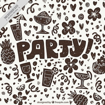 Party background with flowers and drinks