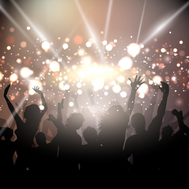 Party background with golden lights