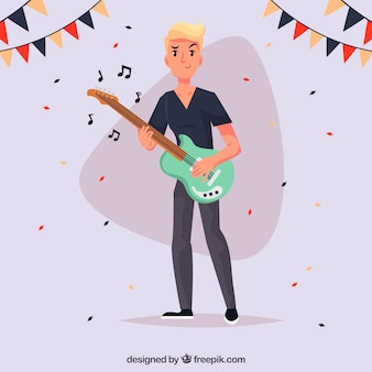 Party background with guitarist