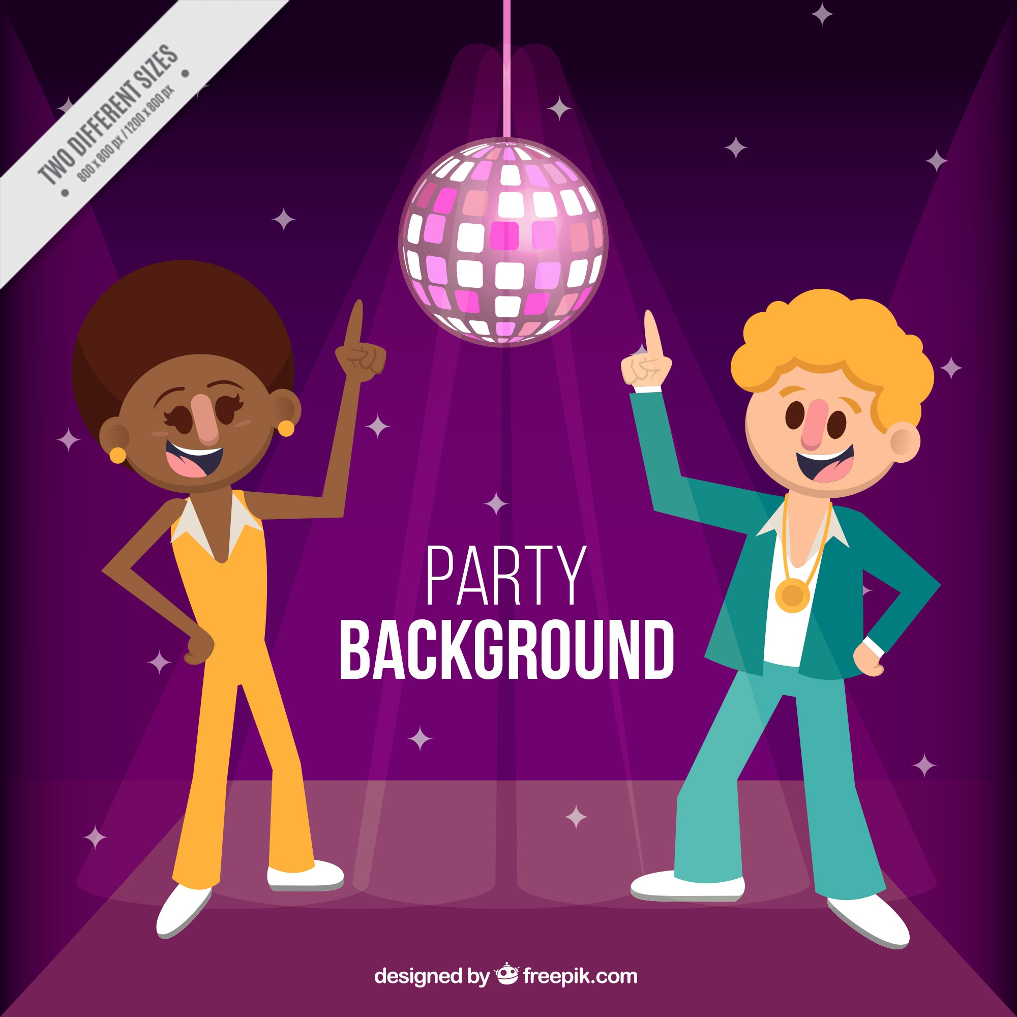Party background with two people dancing