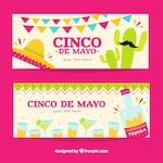 Party banners for cinco de mayo with fantastic designs