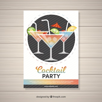 Party brochure with cocktail glasses