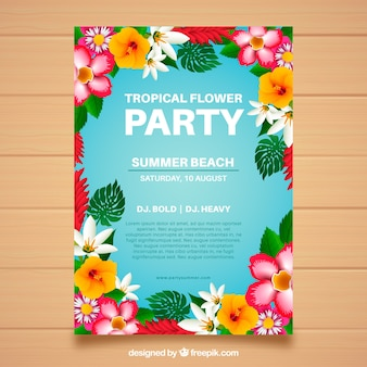 Party brochure with colorful flowers