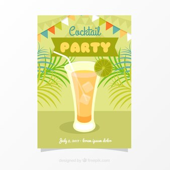 Party brochure with delicious cocktail with ice