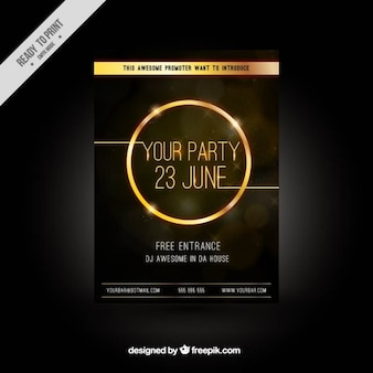 Party brochure with golden circle