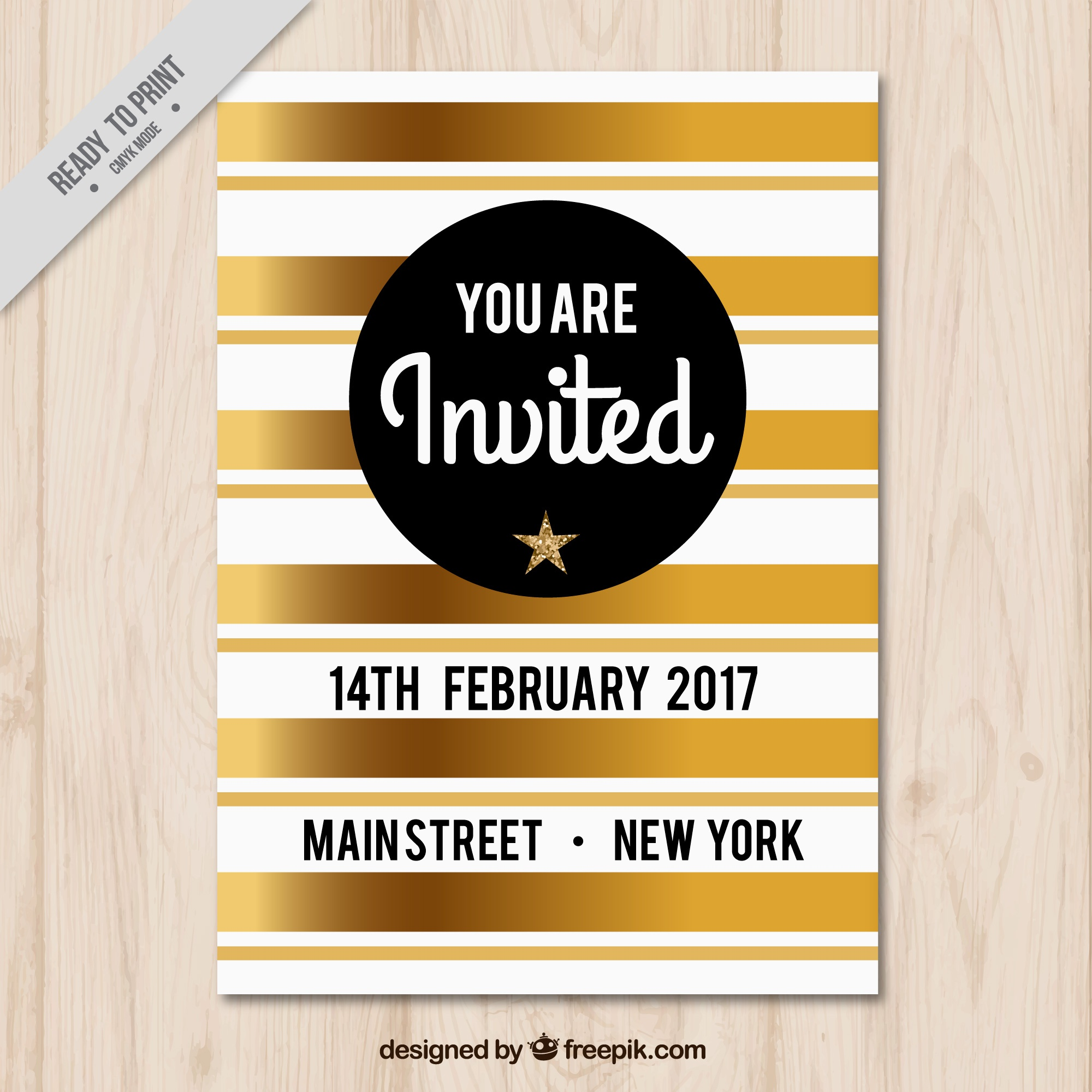 Party brochure with golden stripes
