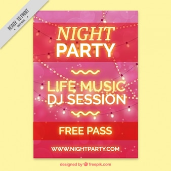 Party brochure with lights in modern style