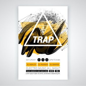 Party brochure with white triangle and abstract shapes