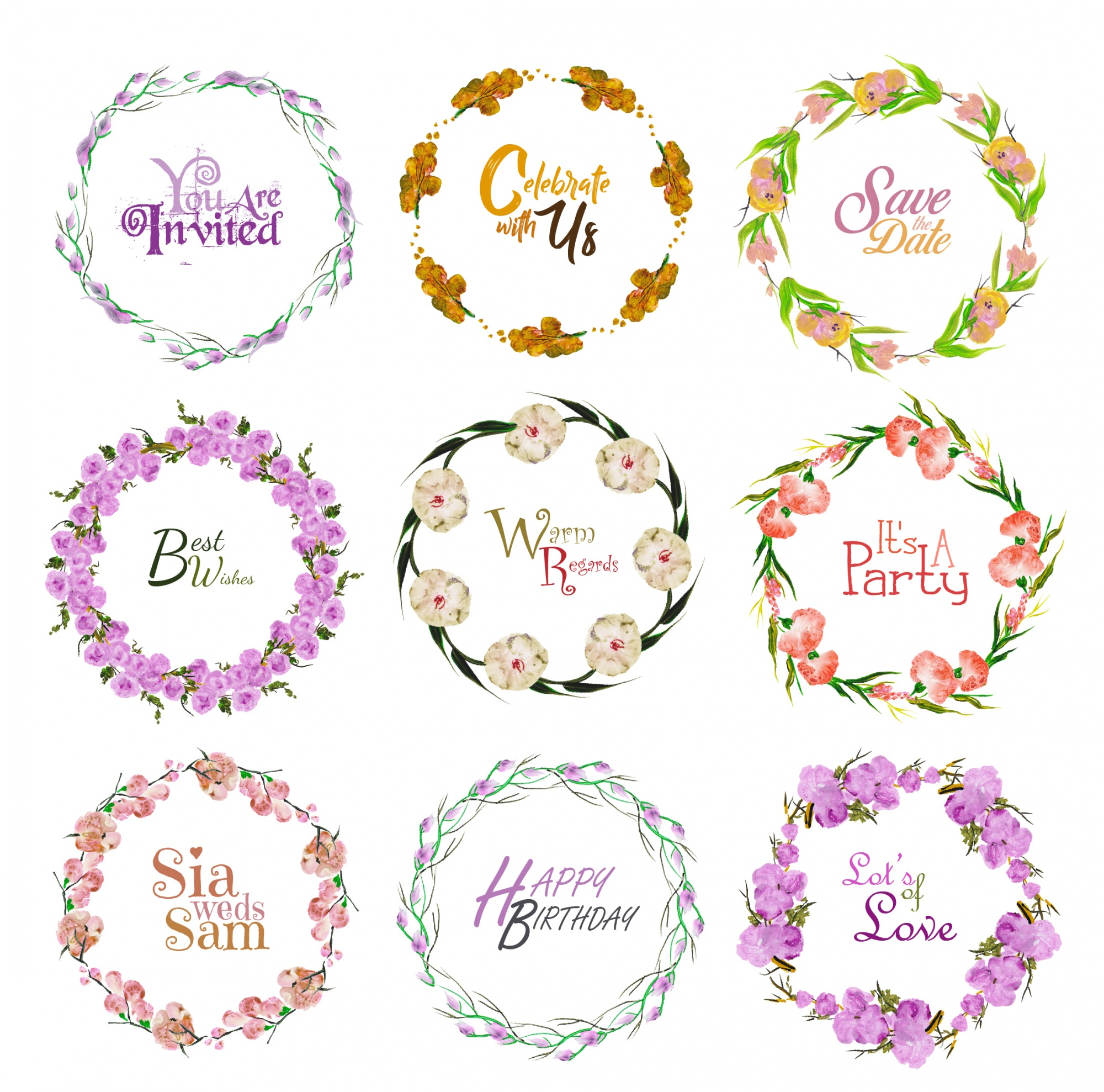 Party floral wreath collection