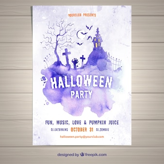 Party flyer for halloween in lilac watercolor
