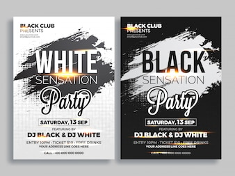 Party flyer or banner design in two color concept.