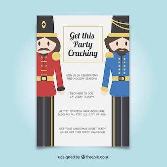 Party flyer template with nutcrackers