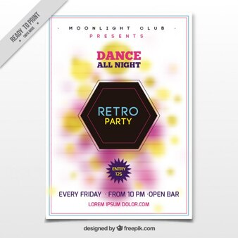 Party flyer with colored blur shapes