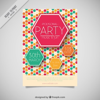 Party flyer with colored hexagons