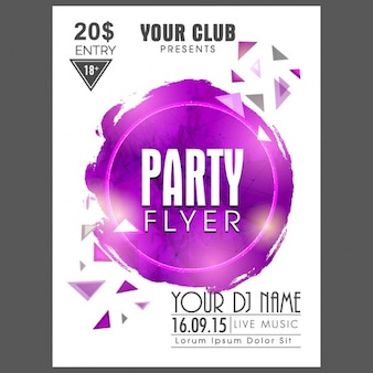 Party flyer with purple circle and triangles