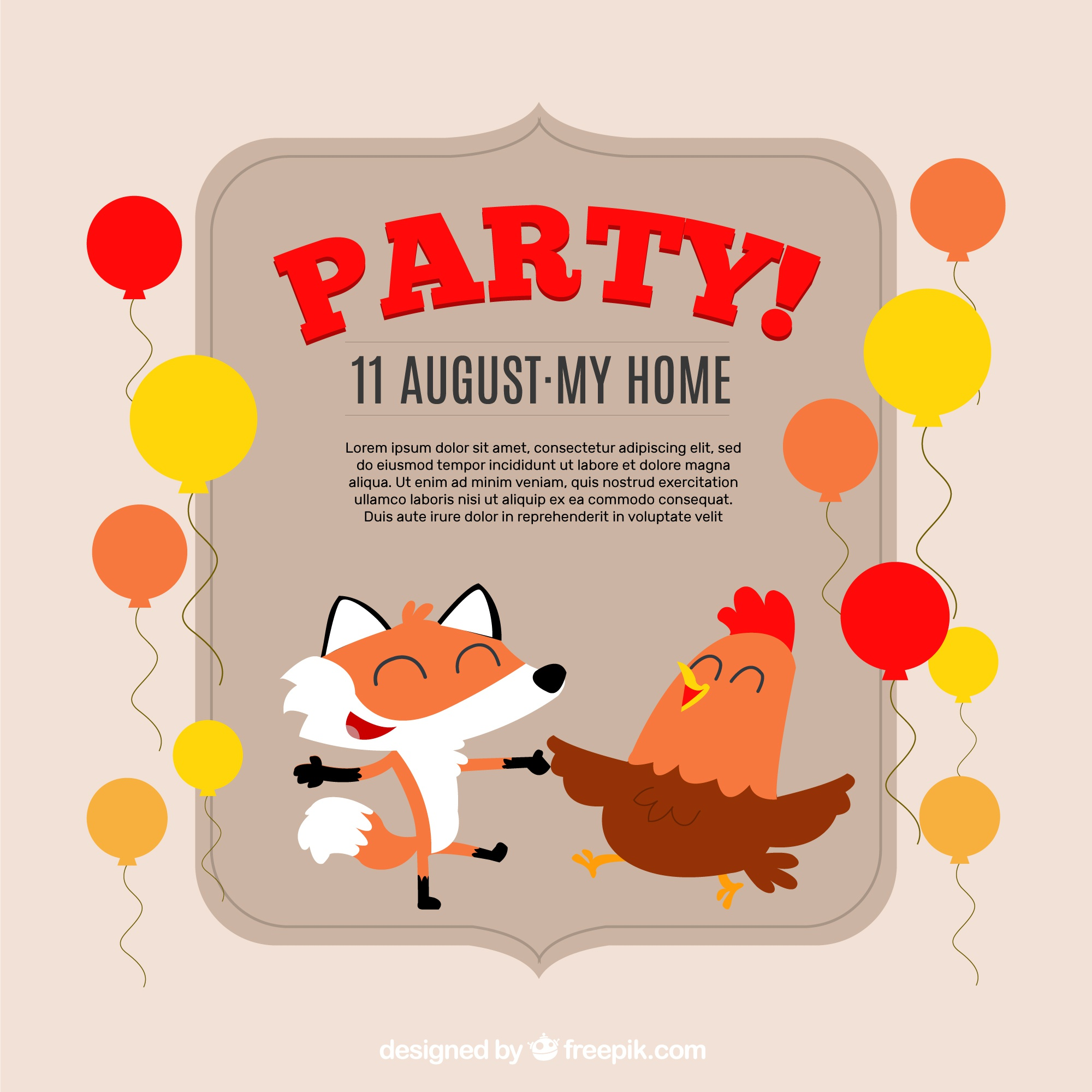 Party invitation with nice hen and fox