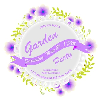 Party invitation with purple flowers