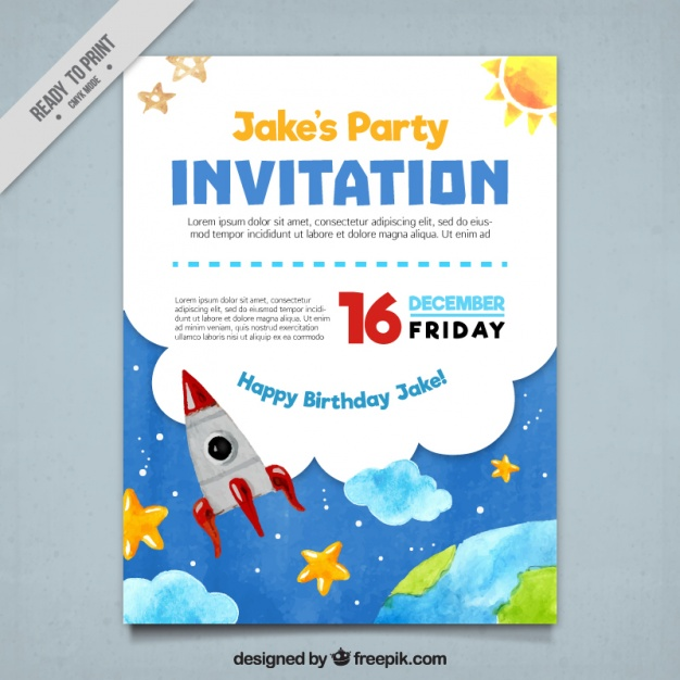 Party invitation with watercolor elements