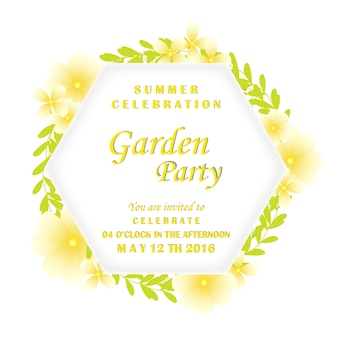 Party invitation with yellow flowers