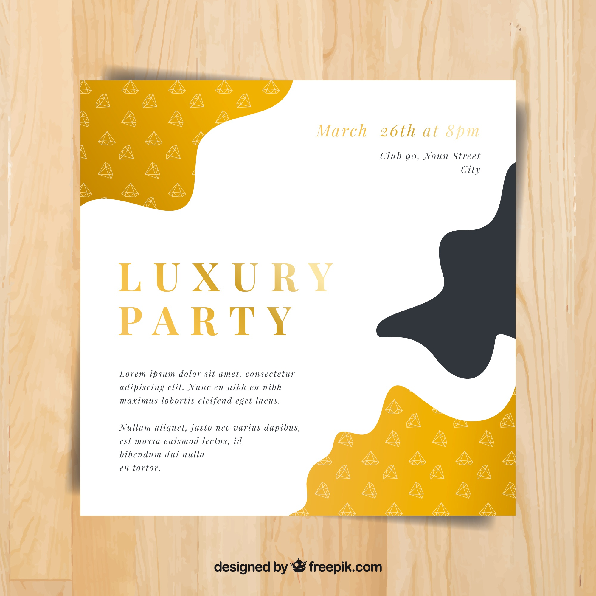 Party leaflet template with golden decoration