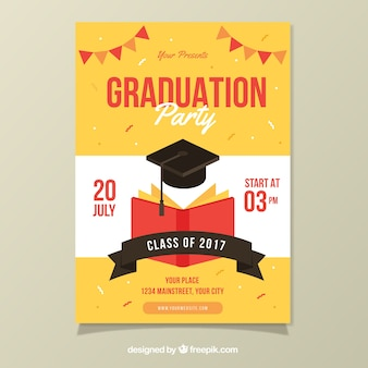 Party poster template with book and graduation cap
