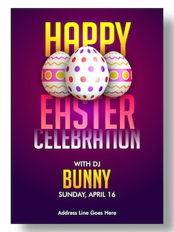 Party poster template with easter eggs