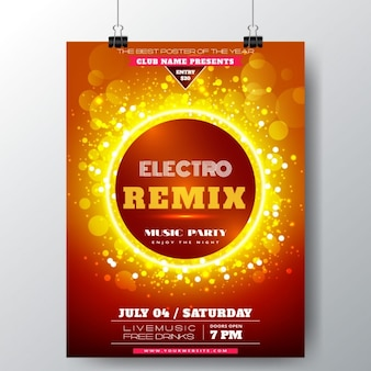 Party poster with a solar sphere