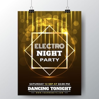 Party poster with bright polygons