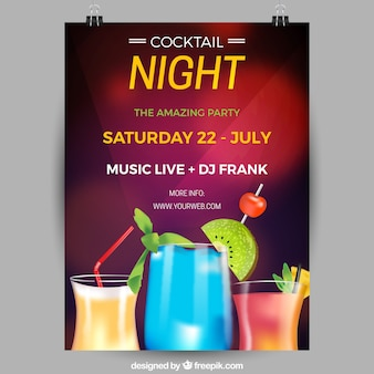 Party poster with cocktails