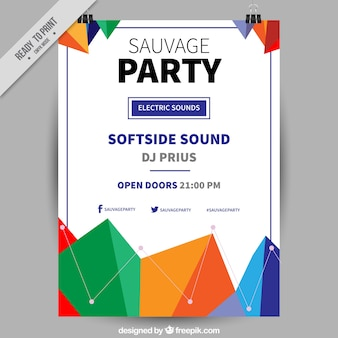 Party poster with colorful geometric shapes design
