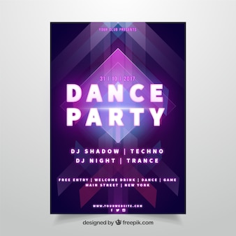 Party poster with colorful neon lights