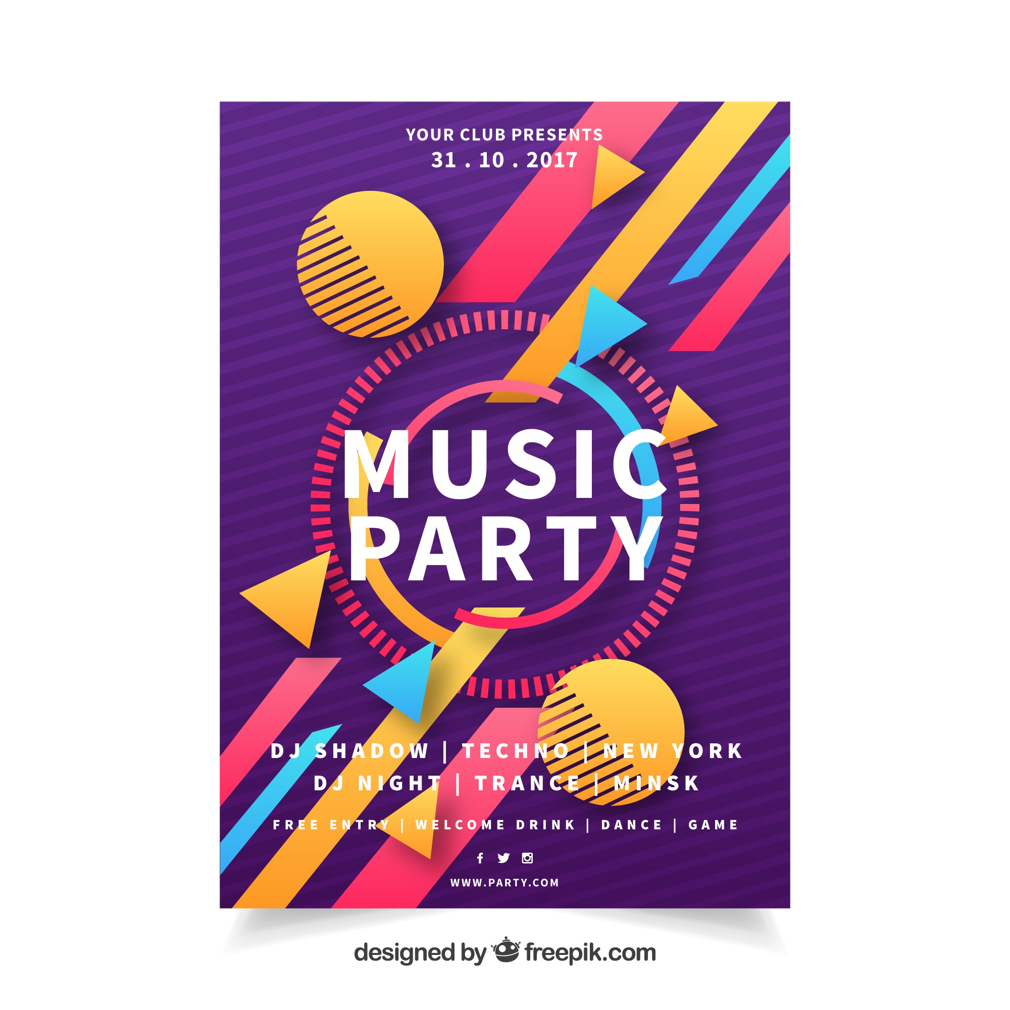 Party poster with fun geometric shapes