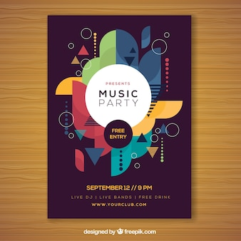 Party poster with geometric composition