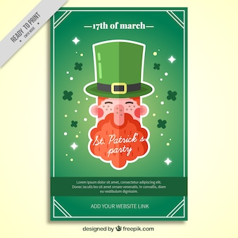 Party poster with leprechaun and clovers for st patrick's day
