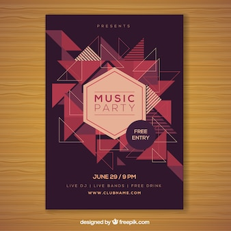 Party poster with modern geometric shapes